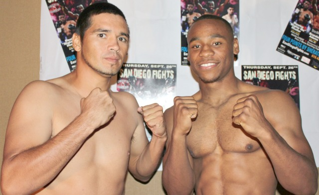 """In tonight's middleweight Main Event at the Four Points By Sheraton Hotel, it will be Brandon """"Cannon"""" Adams (r) of Los Angeles, CA going up against Francisco """"Panchito"""" Rios Gil of Yavaros, Sonora, Mexico. All photos: Jim Wyatt"""