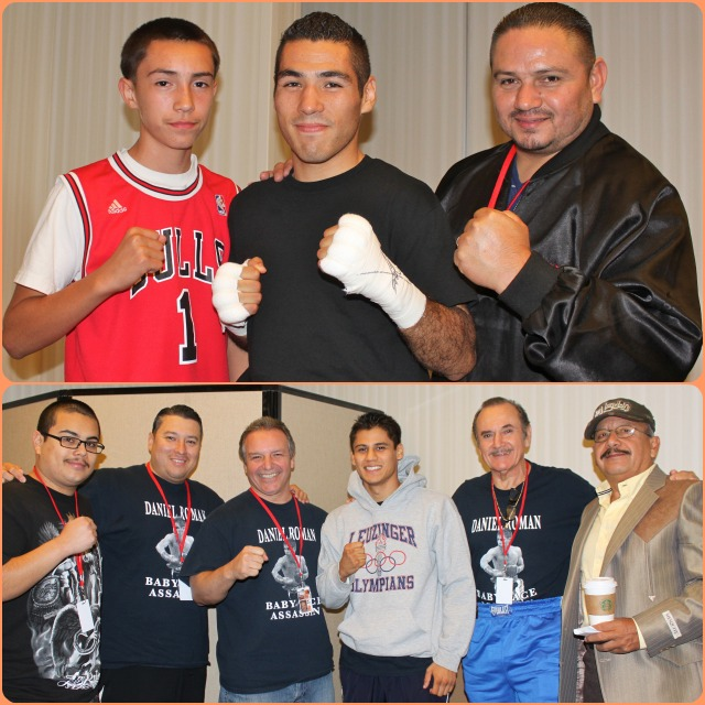Prior to their bout, Juan Ramon Reyes (top, center) poses for a photo with friends and below we see Daniel Roman (center) with his coach and supporters.