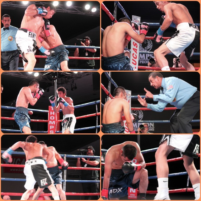 """This was """"the up, then down"""", fight of the night. Carlos Carlson (white trunks) wasted no time in his demolition of Guadalupe Barrera. It was one knockdown after another."""