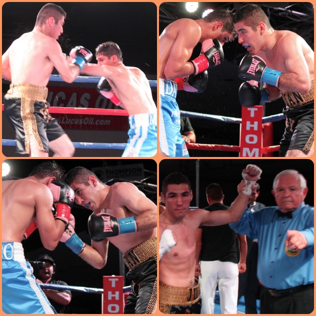 (bottom, right) At the conclusion of his all out war with Danny Roman, Juan Ramon Reyes has his arm raised in victory by referee Lou Moret.