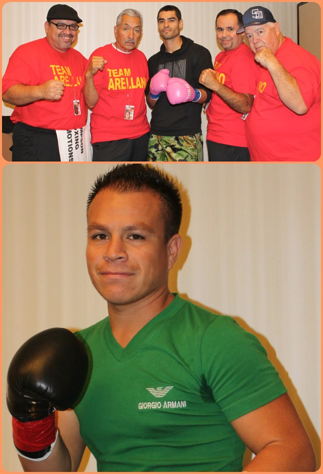 Prior to their match, Israel Arellano (top, with his support staff) and Mario Hermosillo (below) pose for a photo in their dressing rooms. Photos: Jim Wyatt