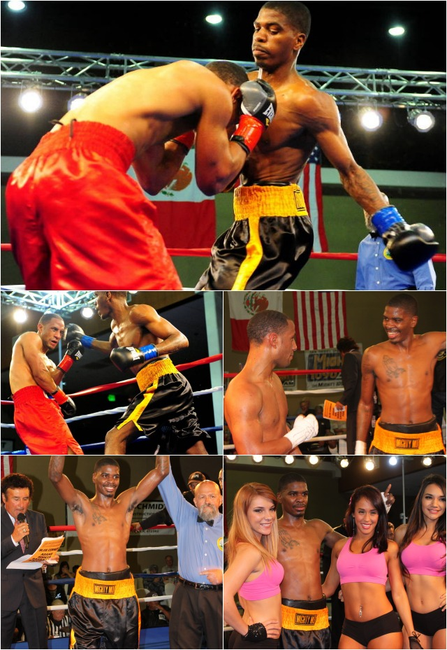 (bottom) Maurice Hooker has his arm raised in victory by referee Jose Cobian as the show's ring announcer Benny Ricardo reads off the winning scores.