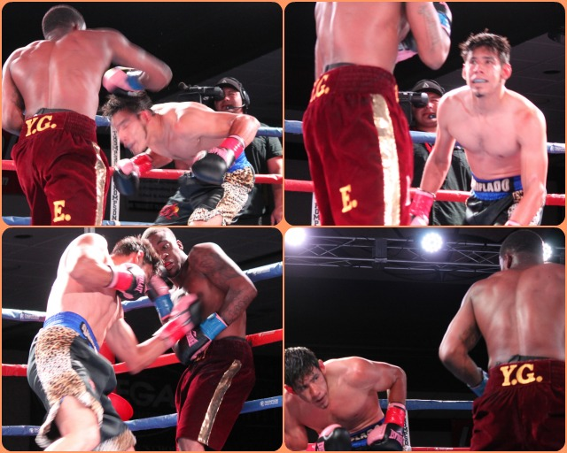 Trying to bait his opponent, Juan Carlos Sanchez goes through all sorts of wild and crazy gyrations.