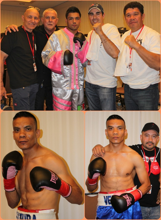 In their dressing room, prior to their bout, Roberto Ventura and Erick Ituarte posed for photos with their support staff.