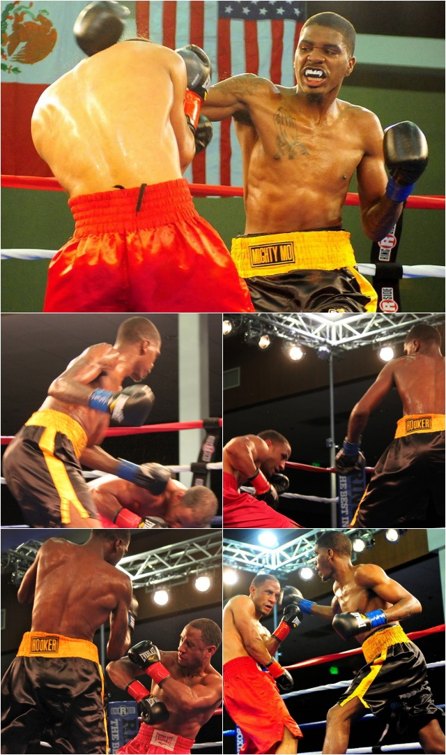 "From the outset it was target practice for the knockout artist Maurice ""Mighty Mo"" Hooker (black trunks) who rarely missed the stationary target Rynell Griffin (red trunks). Photos: Jim Wyatt"