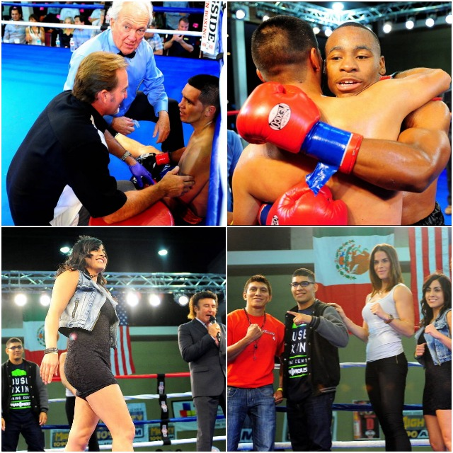 (left to right, top to bottom) Francisco Rios Gil sitting is checked out by the fight doctor. Next, Brandon Adams embraces his opponent. Amaris Quintana does one of those fashion model walks across the ring. Star power (l to r) Pablo Cupul, Antonio Orozco, Danyelle Wolf and Amaris Quintana.