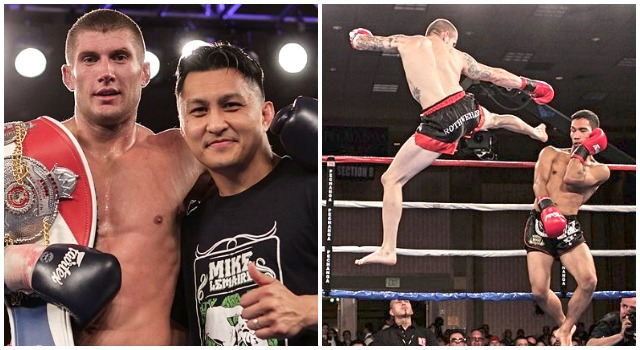 Top local performers on this Las Vegas fightcard, (left photo) WCK cruiserweight champion Mike LeMaire poses for a photo with his coach Melchor Menor after his last win at the Pechanga Resort & Casino. (right photo) WBC Featherweight Champion Adam Rothweiler of San Bernardino, CA unloads one of his flying kicks on his last opponent. Photos: Jim Wyatt