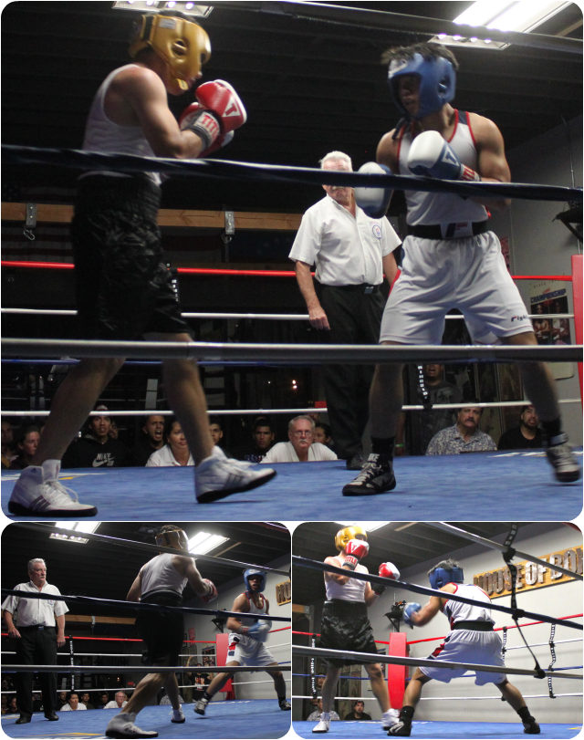 (top) In Round #1, Hai Tran (white trunks) and Jaime Suazo (black trunks) face off in the center of the ring.