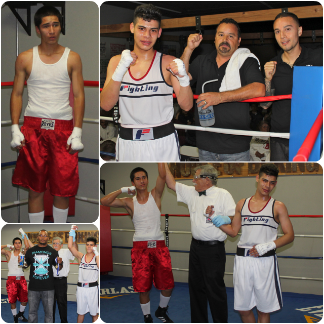 Noel Diaz of Pinzon Boxing of Escondido (5-0) and 15 year-old Israel Caballero