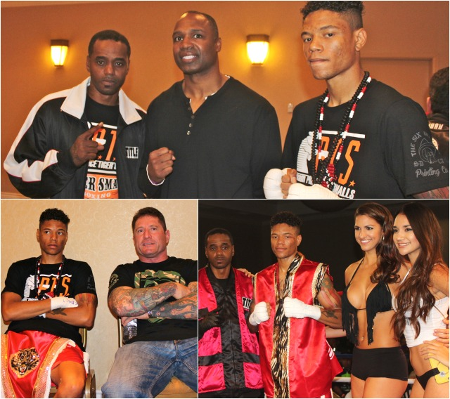 (top photo) In the dressing area prior to his bout against Pablo Cupul, Prince Tiger Smalls poses for a photo with his father/trainer Priest Tiger Smalls and former heavyweight champion Chris Byrd who was on hand to lend support to Smalls in his bout against Pablo Cupul. (below, left) Smalls poses for a photo with Bill Crawford, the owner of the San Diego Combat Academy in San Diego. Photos: Jim Wyatt