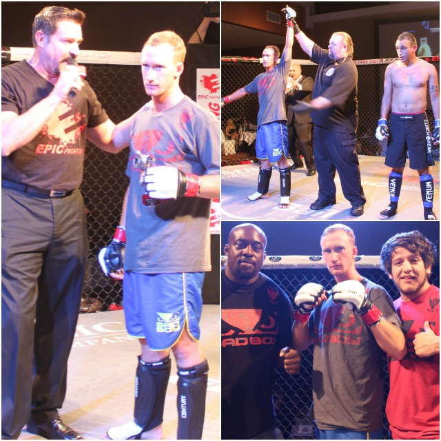 "Bout #4 featured two debutants, 21 year-old, 5'8"" Colton Wandke of Imperial Beach, CA who trains at the Alliance Training Center in Chula Vista going up against 26 year-old Emmanuel Gonzalez of Santa Barbara, CA"