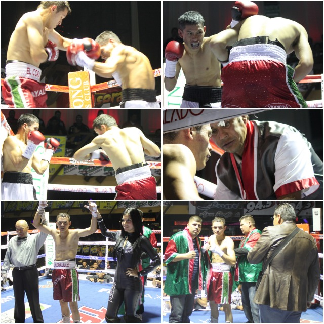 (bottom, left) At the end of their contest, has his arm raised in victory by referee Juan Morales Lee.
