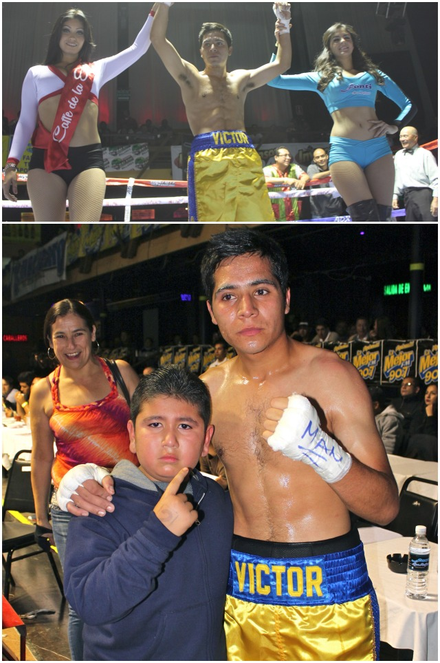 At the conclusion of his bout, the victorious Victor Capaceta (bottom, right) is joined by his most loyal supporter.