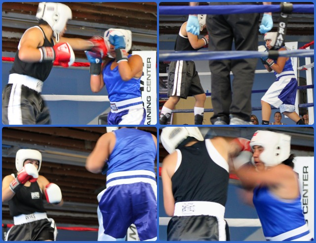 Early on, it was Jasmine Hernandez (black trunks) in control of the fight. That was until Jasmine Mosqueda began to find her rhythm and started to counter. Photo: Jim Wyatt