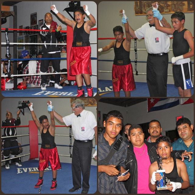 (top right) Young Mr. Colon is joined by his mates from the Azteca Boxing Club in Bell, CA.