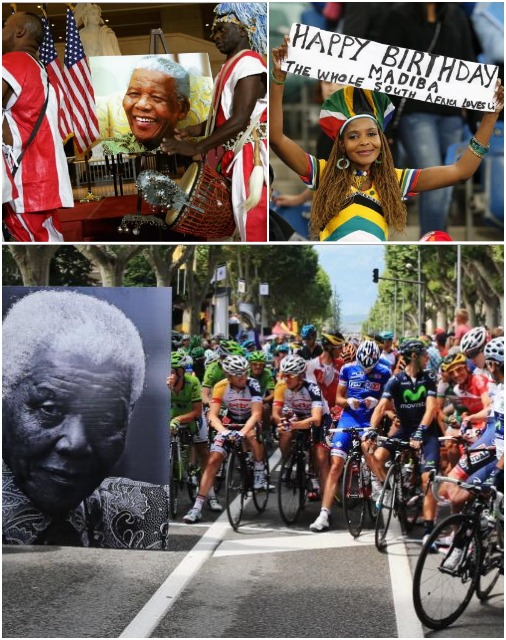 (top, right) A young supporter holds up a sign wishing a Happy Birthday to Nelson Mandela during the Nelson Mandela Football Invitational match at Moses Mabhida Stadium on July 18, 2013 in Durban, South Africa. Photo: Anesh Debiky/Getty Images (bottom) The peloton waits behind a large picture commemorating the birthday of former South African President Nelson Mandela before stage eighteen of the 2013 Tour de France in Gap, France. Photo: Doug Pensinger/Getty Images