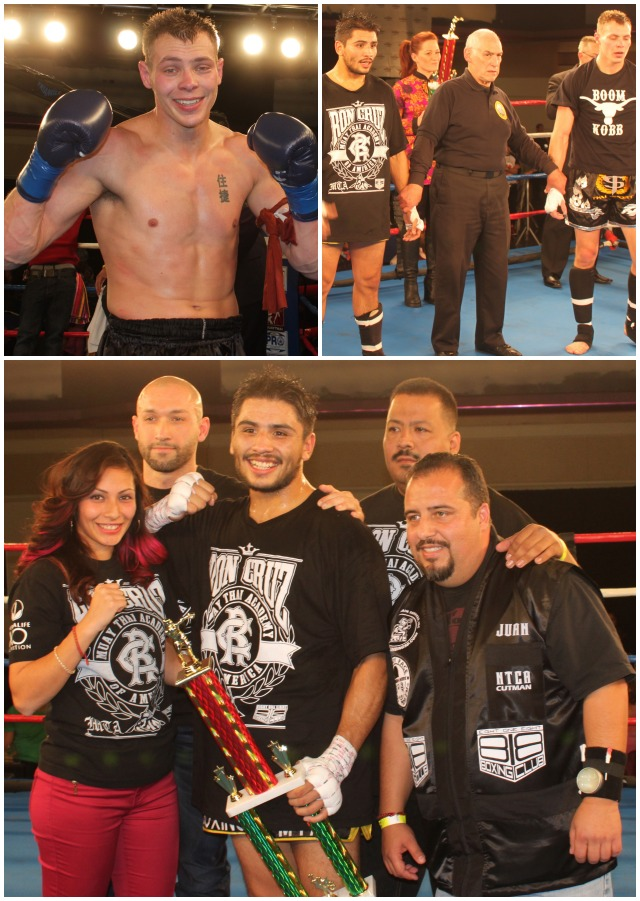 (bottom photo) After defeating Adam Fugitt (top photo) to retain his title, Ronald Cruz (center) was joined by his support staff. All photos; Jim Wyatt