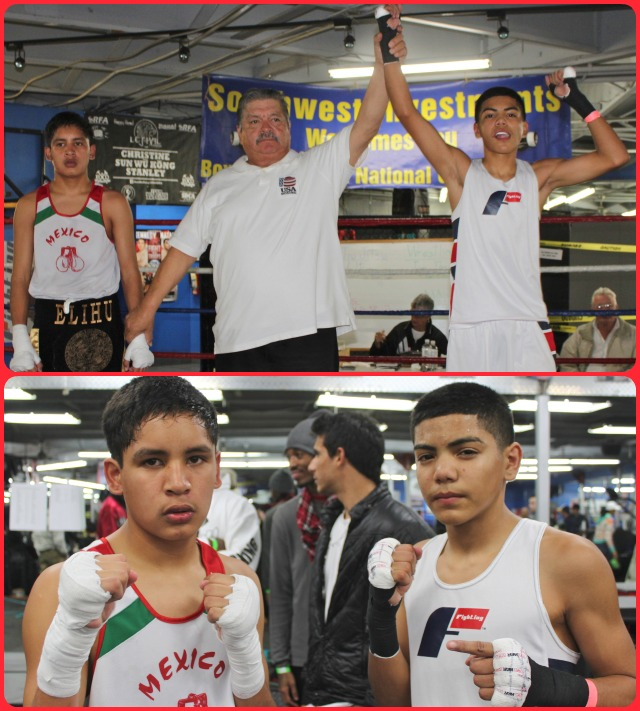 (top photo) In Bout #12, it was Anthony Reyes getting the win over Rudolfo Ortigoza (l).