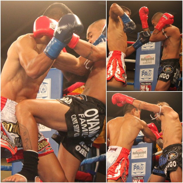 "In the collage above we see Romie Adanza (black trunks) getting the worst of it from an attacking Thanit ""Boom"" Watthanaya (red trunks). All photos: Jim Wyatt"