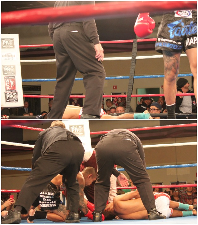 It didn't take long for Adanza to turn the tide and start putting a hurt on his opponent who ended up being stopped for good midway through Round two. (Bottom photo) Adanza shows his concern for Watthanaya who is still down, still hurting from Adanza's blow to the midsection. All photos: Jim Wyatt