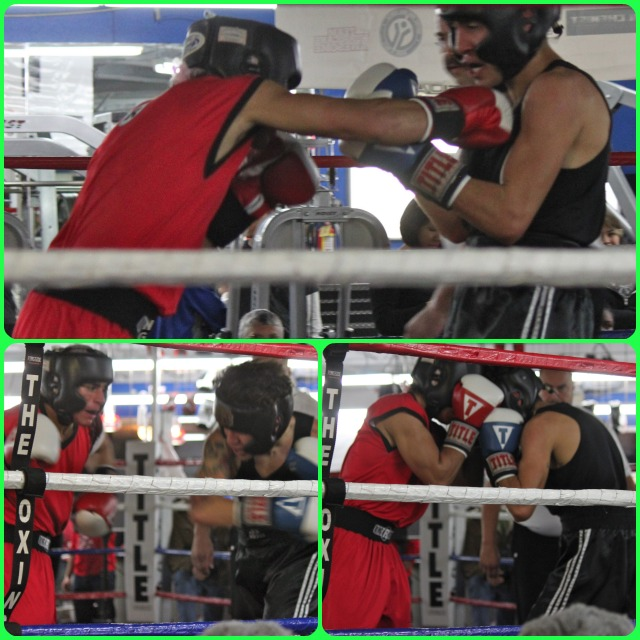 Fabian Zarco (red trunks) of Barrio Station, San Diego and Anthony Quinones (black trunks) of Chula Vista Boxing battle