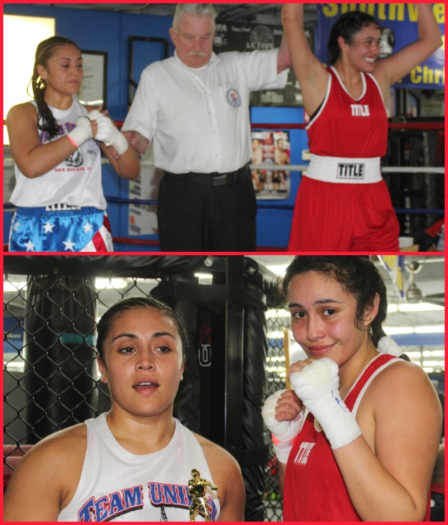 Bout #17, the final bout of Day 2, was another of the more anticipated match-ups. In the semifinals of the female, 132 pound Novice division, they had Jessie Ramirez of the House of Boxing going up against Renata Ramirez of the Duarte Youth Boxing Club.