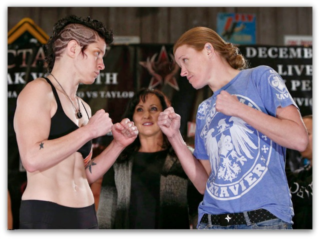In match #2, it is Sarah D'Alelio (l) versus Tonya Evinger (r).