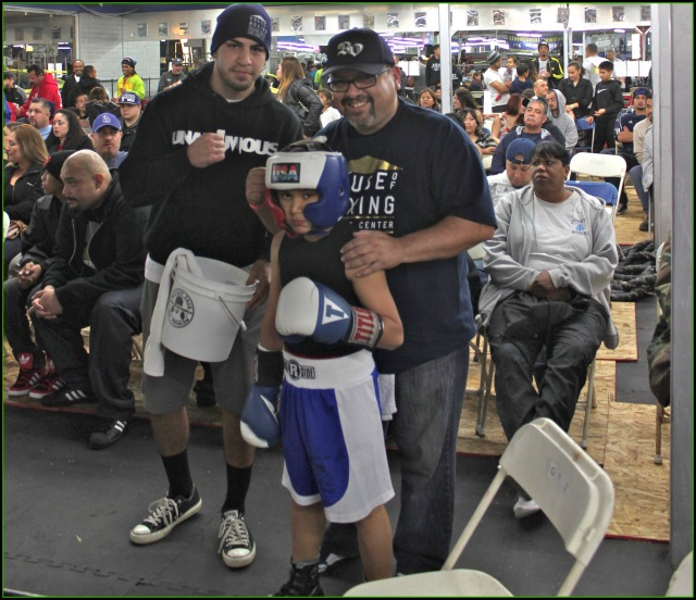 Daniel Morales (c) prepares for his bout against USA Amateur Champion Julius Ballo of the Undisputed Gym in El Cajon, CA.