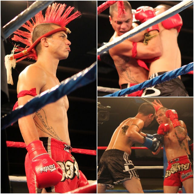 """You could almost hear Chris Minor (red trunks) telling Bronson Casarez (black trunks), """"Whatever you do, don't mess with my mohawk."""""""