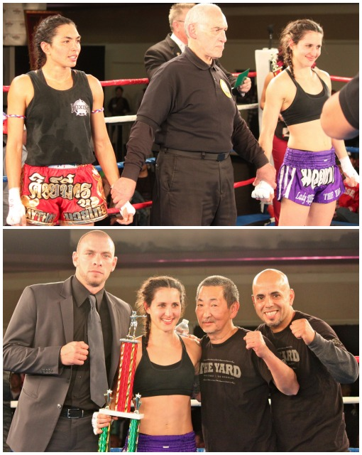 (bottom) At the conclusion of Bout #5, we see Natalie Morgan (c) with stablemate Joe Schelling and their trainers celebrating the big win over Janet Todd. All photos: Jim Wyatt