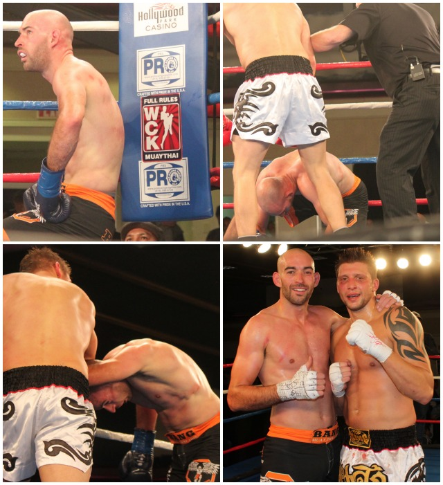 (bottom, right) At the conclusion of their bout, Adam Corrigan (l) put his arm around Jacob Poss (r) and congratulates him.
