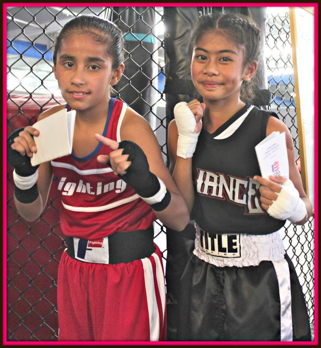 Bout #6, in the female, 10 and 11 years old, 60 pound weight division, featured Connie Gil of M.T.C. going up against Chista Aquino of the Alliance Training Center, Chula Vista, CA.
