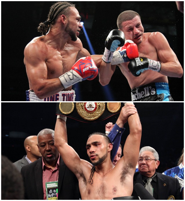 (bottom photo) Keith Thurman has his arm raised in victory after defeating Photo: Ronald Martinez/Getty Images