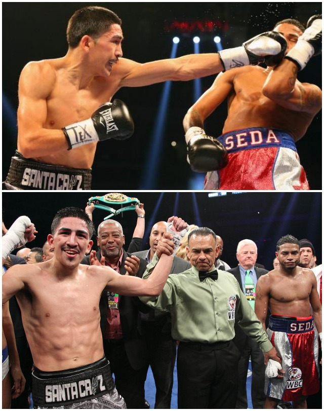 (bottom) Leo Santa Cruz (l) of Rosemead, CA has his arm raised in victory by referee Mark Calo-Oy after he defeated Cesar Seda (r) of Juana Diaz, Puerto Rico, Saturday night in their WBC Super Bantamweight title bout at the Alamodome in San Antonio, Texas. All photos: Ronald Martinez/Getty Images