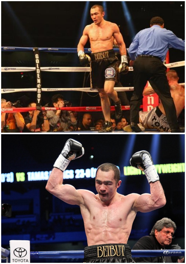 (bottom) Beibut Shumenov raises his arms in victory after stopping Tamas Kovacs in their WBA Super World & IBA Light Heavyweight title bout at the Alamodome on December 14, 2013. All photos: Ronald Martinez/Getty Images