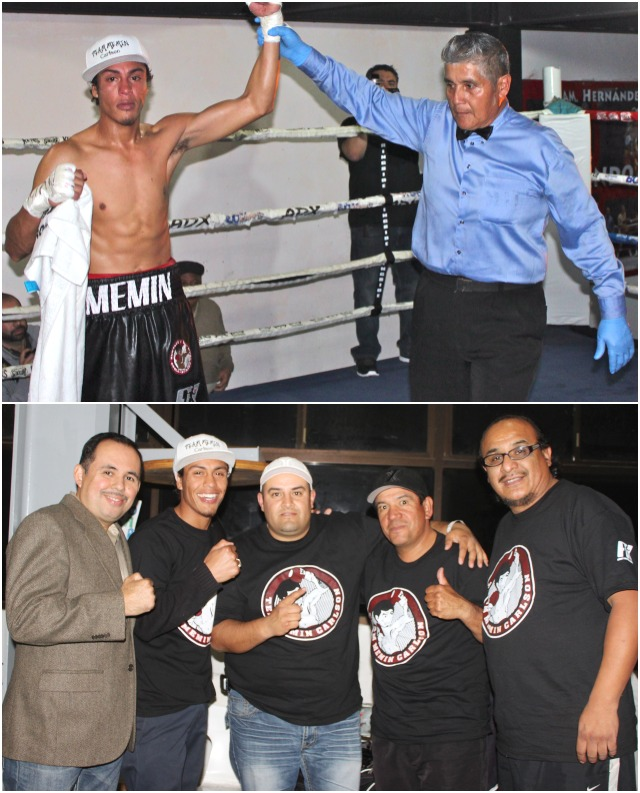 (top photo) After securing the TKO victory over Carlos Mendoza, referee Juan Manuel Ramirez raises the arm of Carlos Carlson.