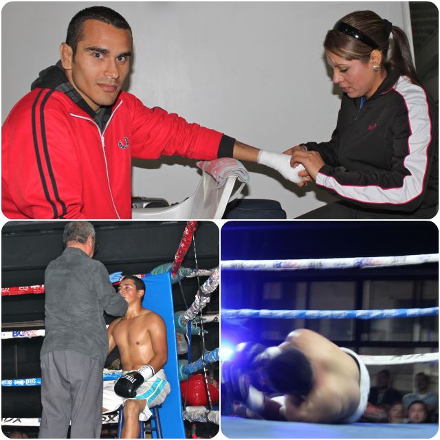 When you're the son of legendary boxer Jose Luis Ramirez, a lot is expected. (top photo) Ramirez has his hands wrapped by his trainer, coaches Monica Abedith Rico.