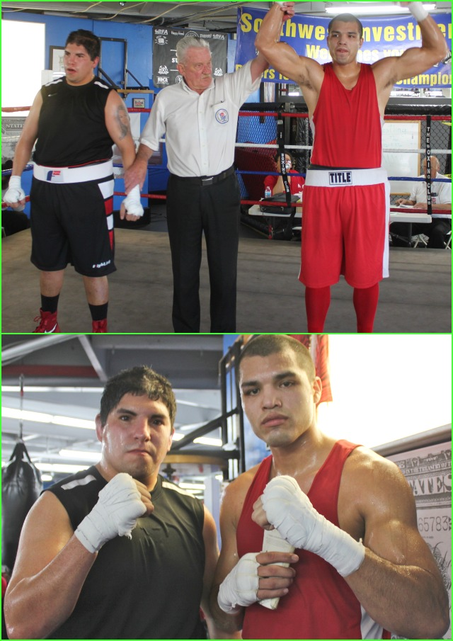 """In Bout #12, it was Joseph """"Big Dog"""" Martinez (202 lbs.) of the Duarte Youth Boxing Club going up against Mario Jaquez (229 lbs.) of the World Gym, Ocean Beach, S. D., CA in a 201 pound plus, Off tourney match."""