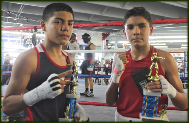 Bout #2, in the 13 to 14 year-old, 106 pound weight class, featured two very serious, what you might call pokerfaced competitors, Anthony Reyes of Coachella and Ray Diaz of Steele Boxing.