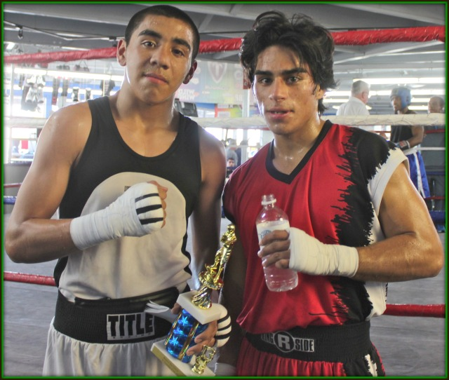 "Bout #6, in the 132 pound, 17 and up, Novice category they had Fabian ""The Energizer Bunny"" Zarco (131.8 lbs.) of Barrio Station in his third straight bout going up against Rene Flores (132 lbs.) a really tough hombre from the Coachella Boxing Club."