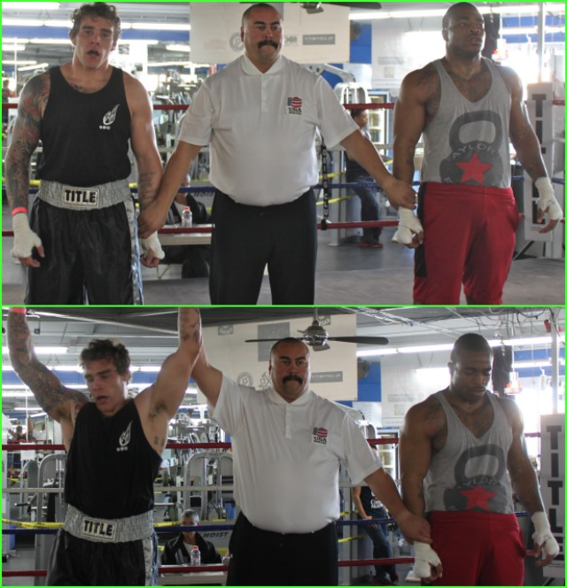 Bout #9 featured two more big bruisers battling it out in the 17 and up, 201 pound Novice division, Ben Rivera (190.4 lbs.) of Old School Boxing in the College Area of San Diego going up against Jesse Okeke (199 lbs.) of the Gladiator School of Boxing in Spring Valley, CA.