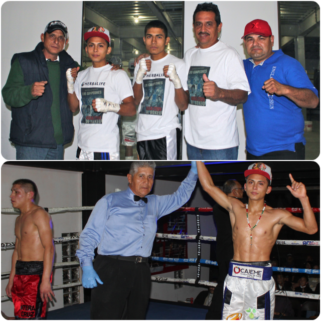 (bottom right) At the conclusion of his hotly contested bout with Efrain Gonzalez, referee Juan Manuel Rincon raises the arm of Javier Lapizco's in victory.