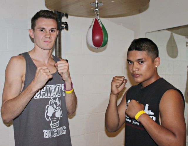 Prior to their bout on Friday night, September 6, 2013, Ali Fakhreddine (l), the eventual winner, and Joseph Torres (r) graciously pose for a photo.