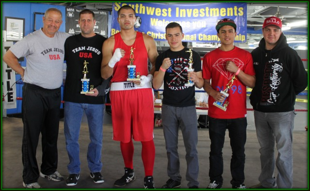 Additional awards were presented to the best boxers within their weight division to include (l to r) heavyweight Joseph Martinez, lightweight Genaro Gamez, super welterweight Gabriel Hernandez. Jack Ballo (r) and Robert Coons (l) the show's organizers are flanking the celebrated boxers.