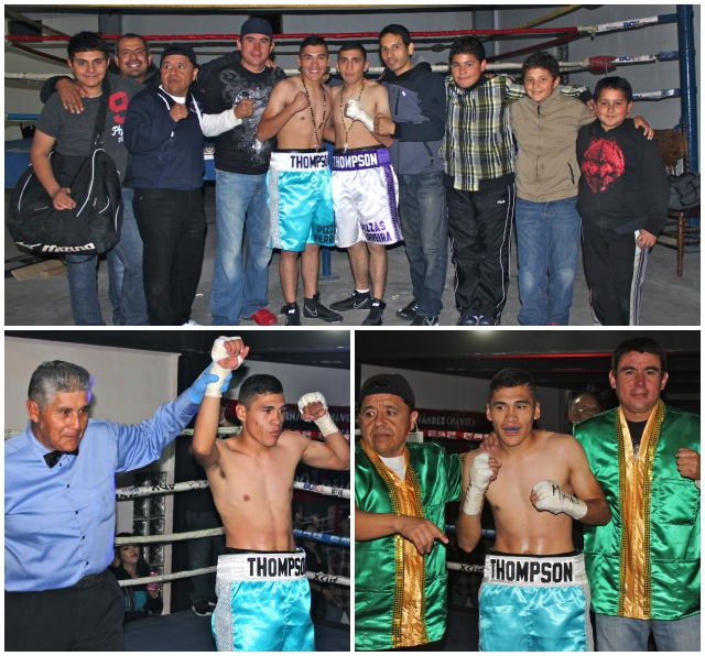 (top) The Delgado family poses for a photo prior to the show. (below) Heriberto Delgado has his arm raised in victory by referee Juan Jose Ramirez after defeating Hector Alvarez. All photos: Jim Wyatt
