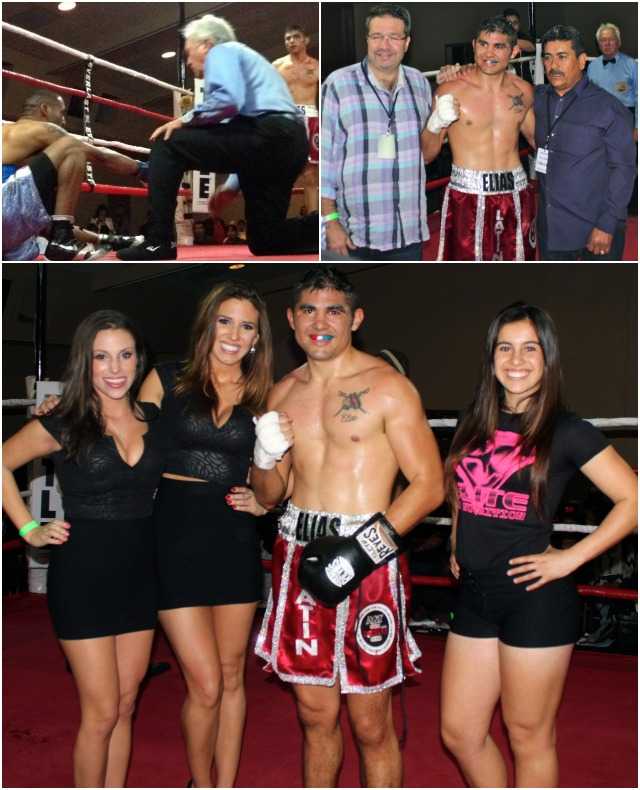 In the top photo collage we Omar Barefield sitting on the canvas after taking a beating from Elias Espadas shown below receiving the royal treatment from the lovely, young hostesses. Photos: Jim Wyatt