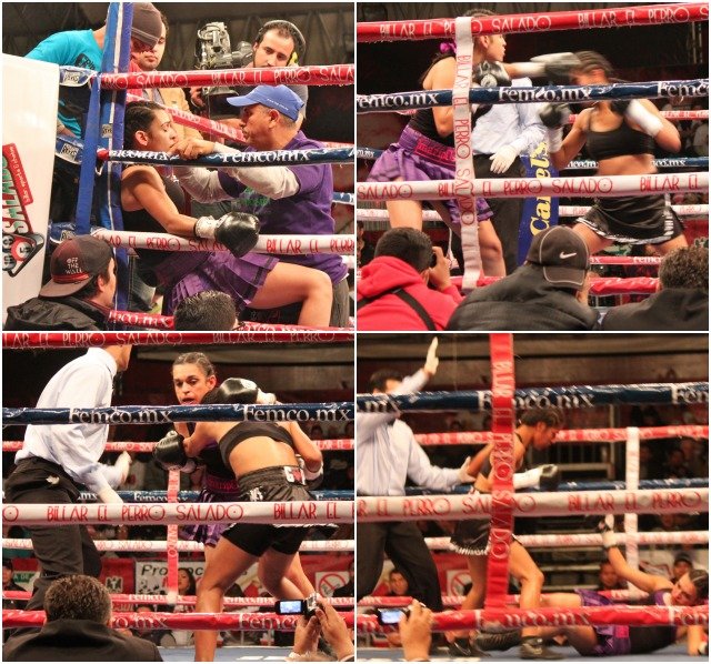 "Photos of Maria ""Mariposa"" Gastelum show her frustration when going up against the more accomplished southpaw Sandra Robles on Friday evening at the Caliente"