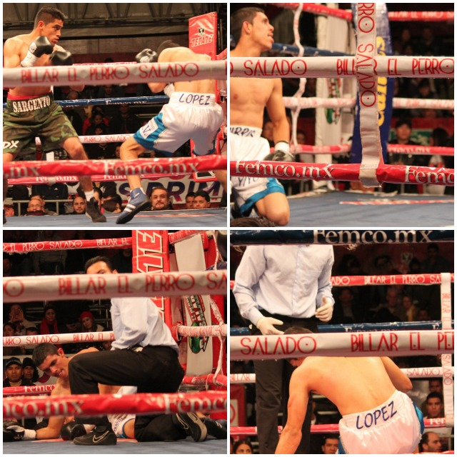 (top, left) In his battle with Cristian Lopez (white trunks), it was like Dario Garibay had dynamite in each of his fists. Photos: Jim Wyatt