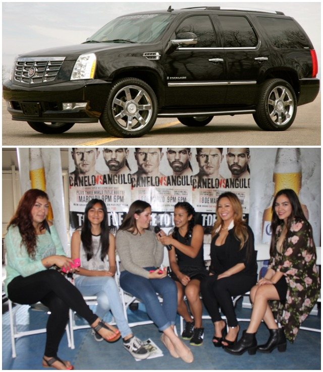 (top) Canelo's black Cadillac Escalade. (bottom)  At least two of these young ladies ditched school in order to be present for the Alvarez Media Day.