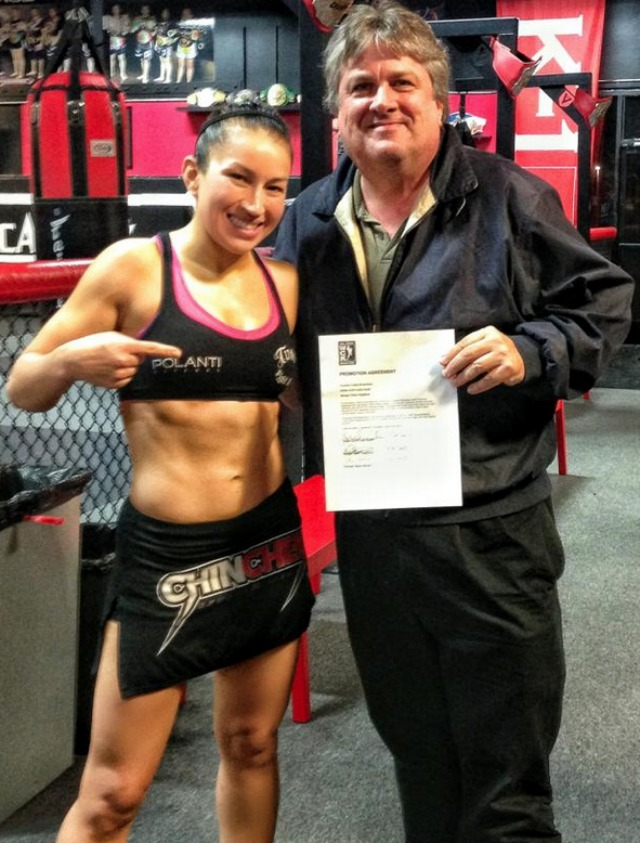 Zoila Frausto Gurgel poses for a photo with Dennis Warner, the CEO of InSnc Productions after she signed a multi fight deal with WCK Muaythai to make her Pro Muaythai Debut on Feb. 15, 2014. Big thanks went to Invicta for allowing Zoila to have her home with Invicta in MMA and yet pursue her dream of becoming a two Sport World Champion.